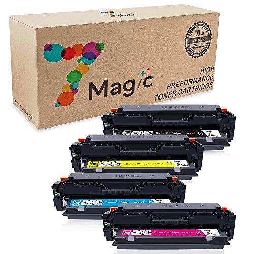 7Magic kompatibel HP CF410X CF410A Toner Patronen für HP Color Laserjet Pro MFP M477fdw M477fnw M477fdn M452dn M452nw M452dw M377dw 410X CF411X CF412X CF413X Drucker (1 Schwarz, 1 Cyan, 1 Magenta, 1 Gelb)