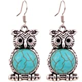 Yazilind Jewelry Charming Tibetan Silver Turquoise Cute Owl Drop Dangle Earrings for Women