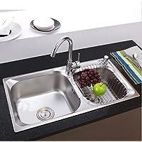 Gowe 304inossidabile Kitcen lavello, compresi accessori per rubinetto con filtro, 8pezzi in pacchetto, 78*42*21cm ciotola doppia lavello