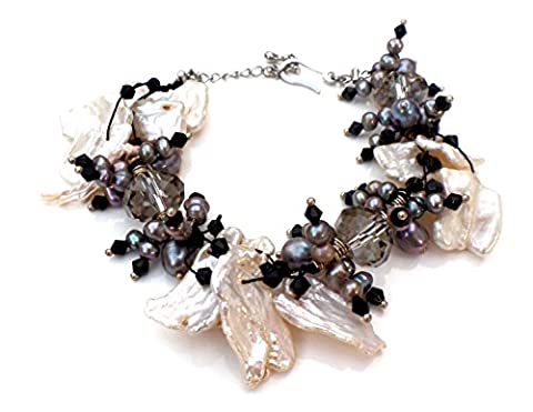 Light Smoky Topaz, Freshwater Pearl and Mother of Pearl Frangia Cluster Necklace Bracelet (Bracelet)