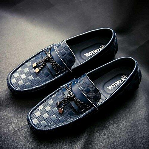 Les Chaussures En Cuir D'Hommes Doug Chaussures Chaussures Tressées Glisser Sur Fond Mou Blue