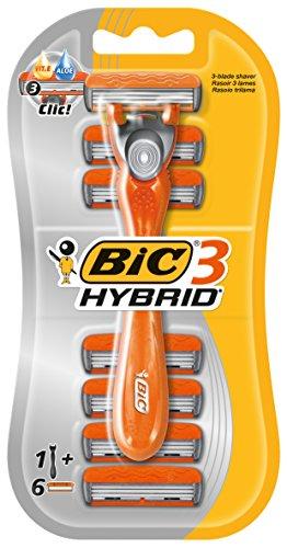 BIC 3 Hybrid Rasierer Set Männer, 3 Klingen, 1 Rasiergriff & 3 Wechsel-Klingen