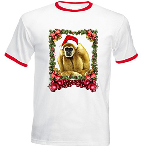 Teesquare1st Men's MONKEY CHRISTMAS Red Ringer T-shirt Size Small (Monkey Ringer)