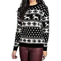 Geili Weihnachten Pullover Tops Damen Casual Renntier Schneeflocke Muster Langarm O-Ausschnitt Sweatshirt Frauen... preisvergleich bei billige-tabletten.eu