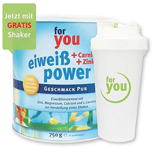for you Power Eiweiß nach Strunz Pur 750 g I Fitness Eiweisspulver mit Carnitin Whey-Protein Sojaprotein Milchprotein I Mehrkomponenten Protein Eiweißpulver mit Eiweiss Shaker Becher 700 ml