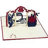 Favour Pop Up Glückwunschkarte zur Hochzeit. Ein filigranes Kunstwerk, dass sich beim Öffnen zu einem Brautpaar mit Kutsche entfaltet. TW011