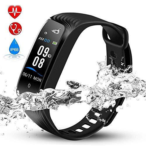 Hommie Fitness Tracker Waterproof Activity Tracker Kalorienzähler, Schrittzähler, Pulsmesser, Schlaf-Monitor, Reminder Ersatzarmband Sportband für iOS & Android, Schwarz