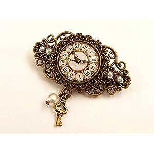 Kleine Haarspange mit Uhr Motiv Steampunk Haarschmuck Zopfhalter