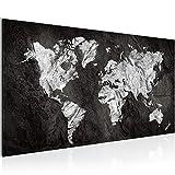 SENSATIONSPREIS !!! Bilder Weltkarte 200 x 80 cm Bild World Map Wandbild Vlies - Leinwand Bild XXL Format Wandbilder Wohnzimmer Wohnung Deko Kunstdrucke Schwarz Weiß 5 Teilig -100% MADE IN GERMANY - Fertig zum Aufhängen 002955a