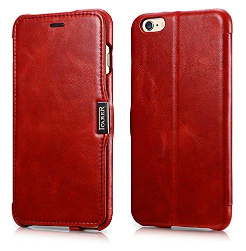 Luxus Tasche für Apple iPhone 6S Plus und iPhone 6 Plus (5.5 Zoll) / Case Außenseite aus Echt-Leder / Innenseite aus Textil / Schutz-Hülle seitlich aufklappbar / ultra-slim Cover / Hülle mit Standfunktion / Vintage Look / Farbe: Rot Iphone 6 Plus Bereich