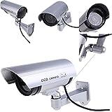 Kretix 4 Pack Outdoor Fake / Dummy Security Camera with 30 Illuminating LED Light (Silver) CCTV Surveillance