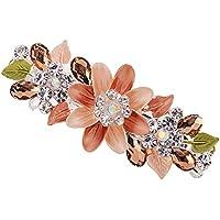 Pawaca modische Haarspange im Blumen-Design mit Strass, Clip, bunt