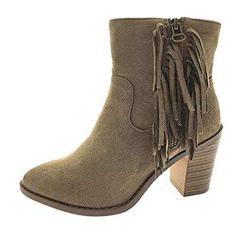 Lora Dora Womens Tassel Fringe Ankle Boots Chunky Mid Block High Heels Shoes Size UK 3 - 8