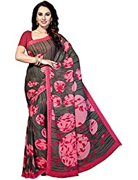 Ishin Poly Georgette Black Printed Women's Saree
