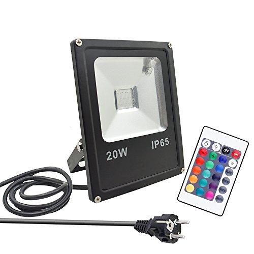 GLW Proiettore 20W RGB, multicolore con telecomando, proiettore per esterno multicolor, Proiettore RGB LED, Impermeabile IP65, 16 colori, 4 modalità Telecomando, Prese Europee