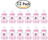 NUOLUX 12pcs Feeder Style Candy Bottle Gift Box Baby Shower Favors (Pink)