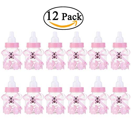 NUOLUX 12st Feeder Stil Candy Flasche Gift Box Baby-Dusche begünstigt (Rosa)