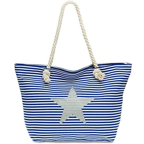 CASPAR TS1023 große XL Damen Strandtasche / Shopper mit Streifen Muster und STERN, Farbe:blau;Größe:One Size