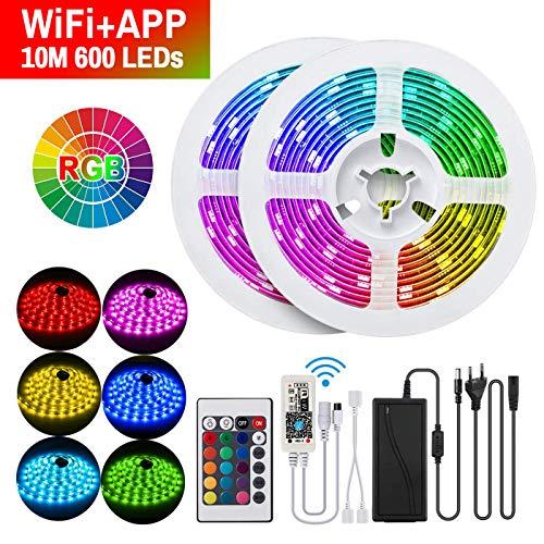 ERAY LED Ruban 10m RGB 600 LEDs Wifi + Télécommande, Bande Lumineuse LED 5050 RGB Multicolore IP65...