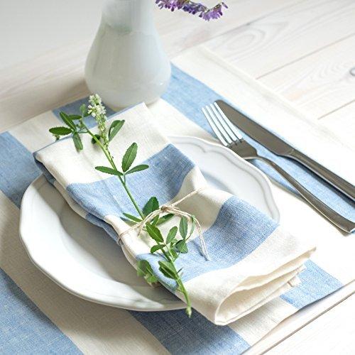 2 Tovagliette 43x43 cm lino bianco strisce azzurro