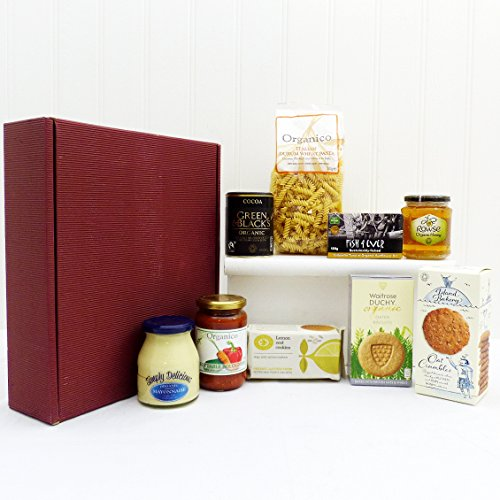 Luxury Organic Fine Food Hamper Presented in a Burgandy Box - Ideas for Birthday, Anniversary and Corporate