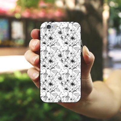 Apple iPhone X Silikon Hülle Case Schutzhülle Blumen Vintage Muster Silikon Case schwarz / weiß