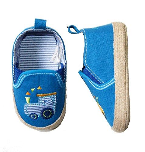 MAXIMO Lauflernschuhe aus Stoff mit Anti-Rutsch-Sohle LOKOMOTIVE Design in blau (20)