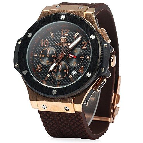 Leopard Shop Megir Herren Quarzuhr, Licht, 30m Wasserdicht, braunes Armband, Schwarz/Gold