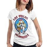 style3 Los Pollos Camiseta para mujer T-Shirt, Color:Blanco, Talla:XL