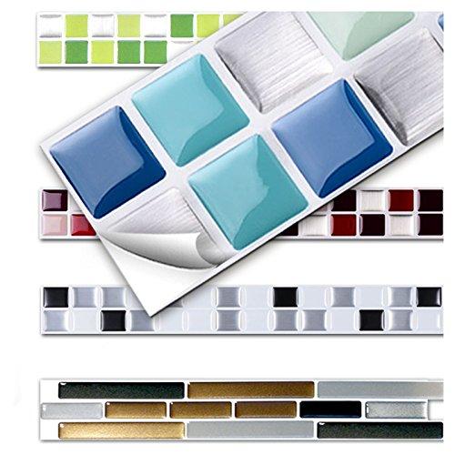 Wandora 7 Stück 25,3 x 3,7 cm Fliesenaufkleber blau Silber türkis Design 1 I 3D Mosaik Küche Bad Fliesendekor Aufkleber Wandaufkleber Wandsticker W1431 -