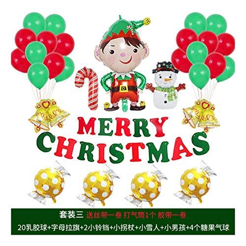 ZSQQSCL Jahr Weihnachten Ballons Party Deko Weihnachtsmann Schneemann Schreiben Ballon Set Raumdekoration Luftballons, D