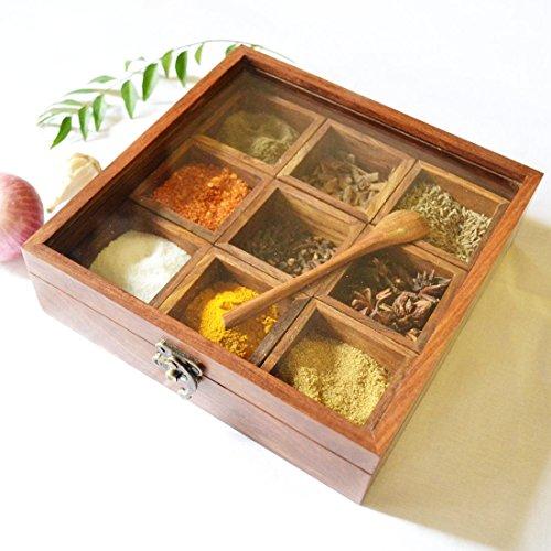 Spectrahut Spice Box - Sheesham Wood Spice Box Container - Spice Box Holder