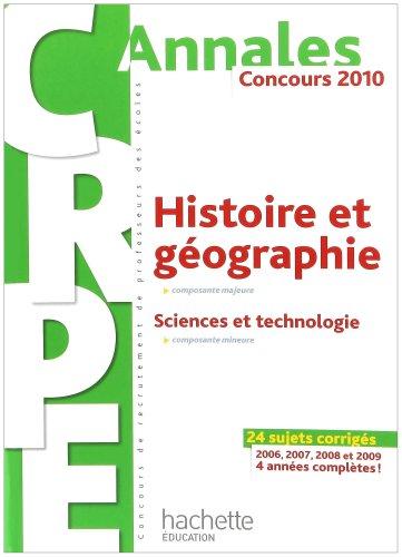 Histoire et géographie - Sciences et technologie CRPE : Concours 2010
