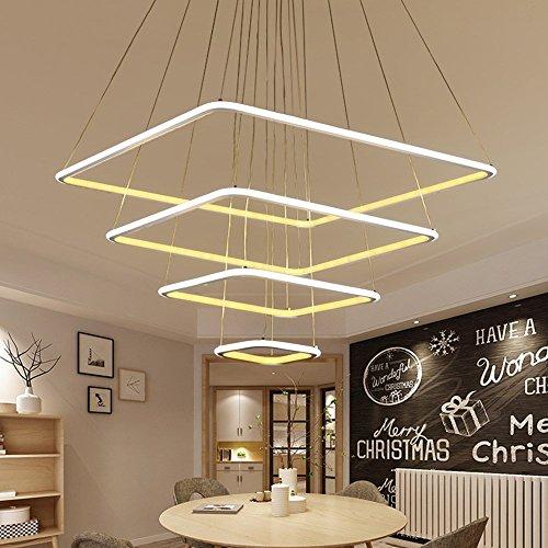 BYDXZ Moderne 3 quadratische Ringe LED Pendelleuchten für Wohnzimmer Esszimmer Licht Pendelleuchte hängende Deckenleuchte LED Lampe, 2ring 40cm 60cm, warmweiß