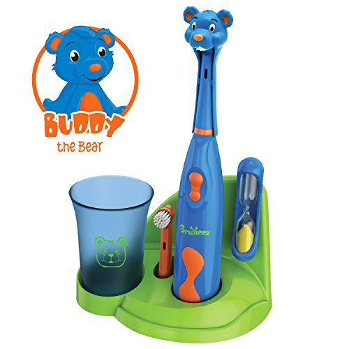 Buddy-the-Bear-Brusheez-Childrens-Electronic-Toothbrush-Set-Includes-Battery-Powered-Toothbrush-2-Brush-Heads-Cute-Animal-Head-Cover-2-Minute-Sand-Timer-Rinse-Cup-and-Storage-Base-Buddy-the-Bear