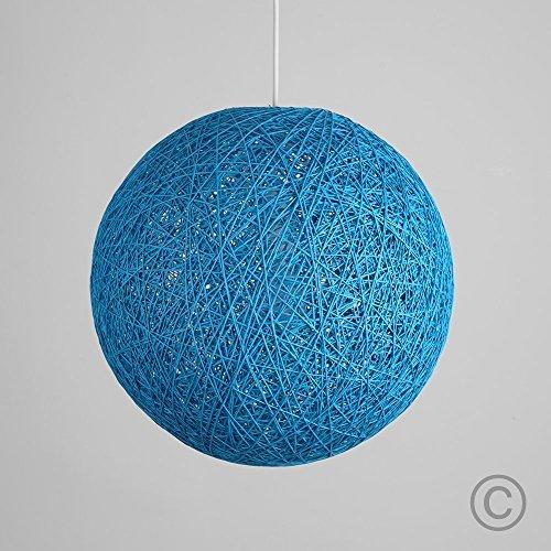 Moderna pantalla para lámpara de techo de estilo bola de cristal - de mimbre enrejado, tamaño pequeño y color azul claro