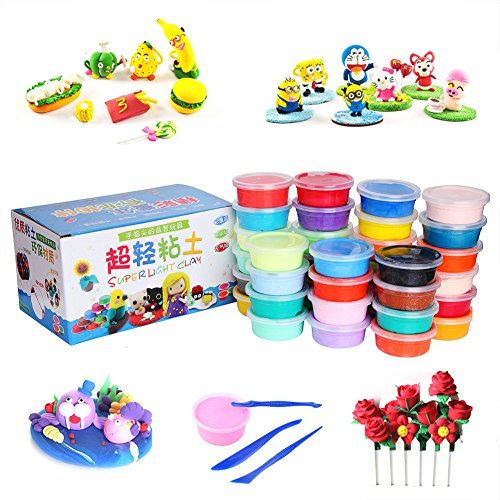 Air Dry Clay, 24 Colors Ultra Light Modeling Soft Clay Set, Modeling Dough with Project Booklet, Best DIY Educational Creative Gift for Kids