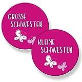 Polarkind Grosser Button Pin Anstecker 2er Set große und Kleine Schwester (38mm) pink Handmade Geschenk zur Geburt Taufe Babyparty