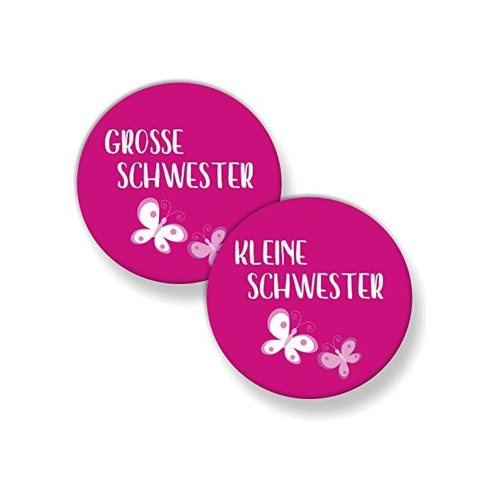Polarkind Button Pin Anstecker 2er Set große und kleine Schwester (38mm) pink Handmade Geschenk zur Geburt Taufe…