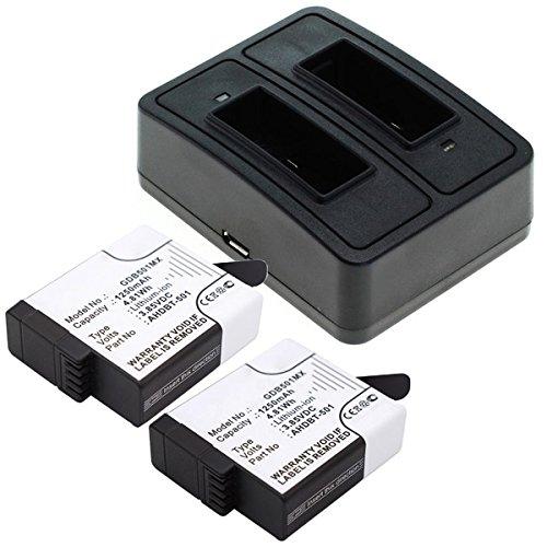CELLONIC 2X Batería + Cargador Compatible GoPro Hero