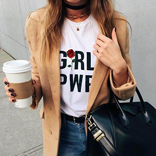 Tops Damen Lose Kurzarm Blumen Rose T-Shirt Holeider Weiß