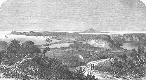 Italien: Baiae: Misenum, Lucullus; ProcidaCity in ITALY, Ischia Gartenbank, antik, 1856