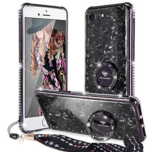 OCYCLONE Handy Hülle Kompatibel Mit iPhone 8 Hülle, [Gehärtetes Glas Rückseite Cover] mit Mädchen Glitzer Bling Diamant Handy-Ring Ständer Schützhülle für iPhone 8/7 Hülle - Schwarz