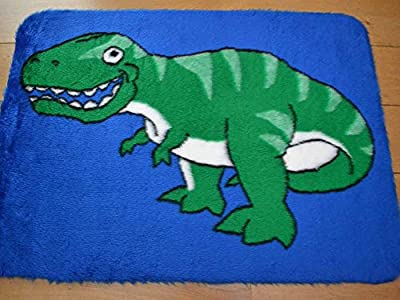 Dinosaur Non Slip Machine Washable Sheepskin Style Kids Rug. Size 70cm x 100cm - inexpensive UK light store.