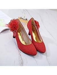 Xue Qiqi Zapatillas de novia con zapatos de novia grandes zapatos de mujer rojos, zapatos de boda chinos, The...