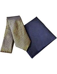 DUCHAMP London Men's 100% Woven Silk Tie & Pocket Square - Gold & Blue Design