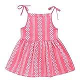 IZHH Kids Dresses, Toddler Kid Sleeveless Baby Girl Solid Flower Striped Princess Dress Summer Dress Clothes 1T-6T Vertical Bridge Adjustable Camisole Dress(Wassermelonenrot,110)