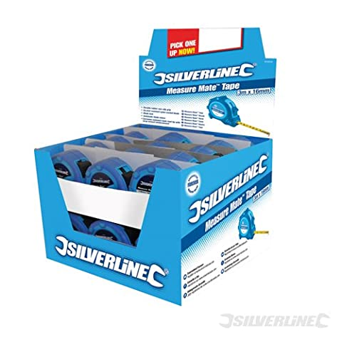 Silverline mesure Mate Boîte présentoir Lot de 24Ruban 8m x 25mm 675126
