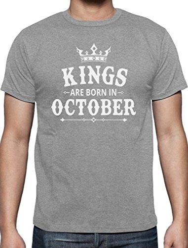 Geschenk T-Shirt für Ihn - Kings are born in Oktober T-Shirt Grau