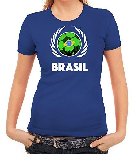 ShirtStreet Brasil Wappen Soccer Fussball WM Fanfest Gruppen Fan Wappen Damen T-Shirt Fußball Brasilien Royal Blau